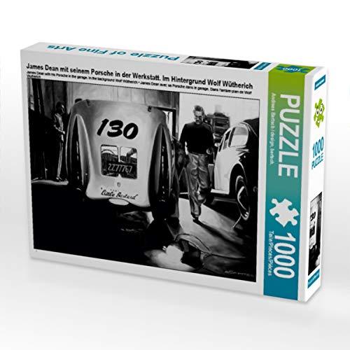 CALVENDO Puzzle James Dean mit seinem Porsche in der Werkstatt. Im Hintergrund Wolf Wütherich 1000 Teile Lege-Größe 64 x 48 cm Foto-Puzzle Bild von Design, bartsch.