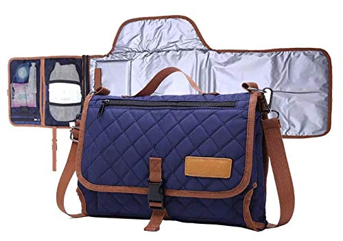 Portable Diaper Bag with Detectable Changing Pad, Head Pillow,Navy Blue,Stylish,Waterproof Quilted Nylon,Light Weight,Easy to Clean,Organizer with Mesh Pockets for Multiple Uses by Da Vincii