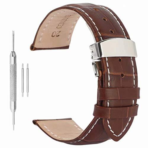 cinturino in pelle guardare banda 19mm fibbia deployante grano sostituzione alligatore