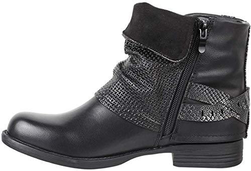 Elara Damen Biker Boots Nieten Stiefeletten Chunkyrayan BZ8399-KB Black-39