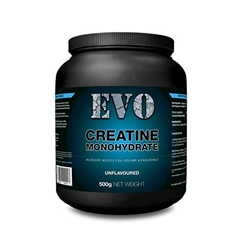 Creatine Monohydrate Powder Micronised | EVO 100% Pure Creatine Monohydrate | Unflavoured | Vegan | Gluten Free | Vegetarian | 500g | Food Supplement | Made in The UK | 100 Servings | EVO Supplement