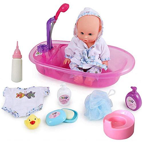Conjunto de Baño Mi Primera Muñeca Bebé con Funciones de Agua Real Set Incluye Muñeca, Bañera, Accesorios y Albornoz (Color : Purple)