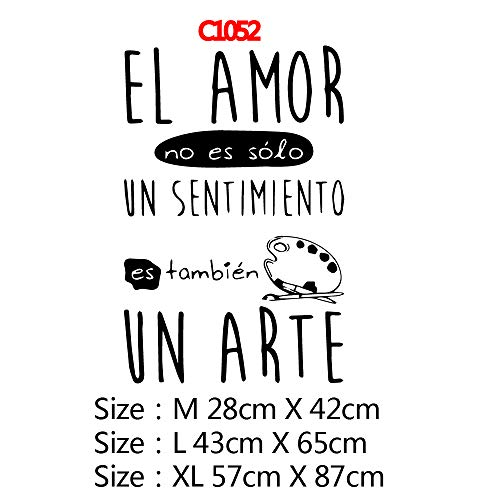 TYLPK Moderne spanische Phrase Cartoon entfernbaren Hintergrund Wandkunst Aufkleber schwarz M 28cm X 42cm