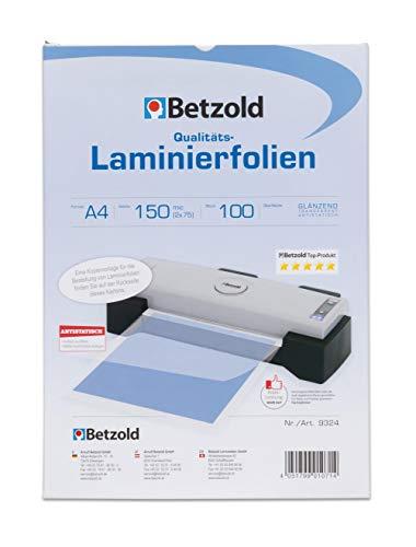 Betzold - Laminier-Folien A4 100 Stück 150 mic - Laminier-Taschen Folier-Folien