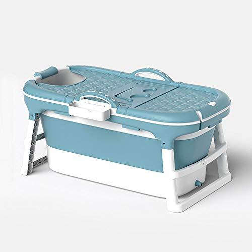 W WEYLAN TEC 47 inch Luxury Large Foldable Bath Tub Bathtub for Toddler Children Twins Petite Adult with Lid Handle Drain Hose Blue