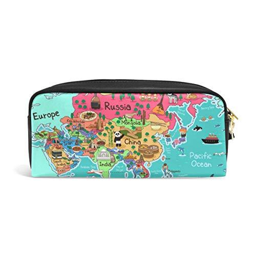 Azië Kaart Potlood Pounch Case Pen Bag Rits Jongen Meisje Tiener Vrouwen College School Schrijven Supply
