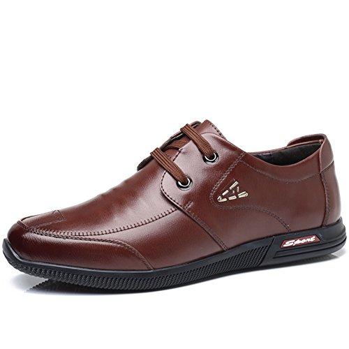 QIDI-Men's shoes Qidi Décontracté Chaussures Commerce Soirée Chaussures en Cuir Angleterre Respirant Chaussures pour Homme EU43/UK9 Marron