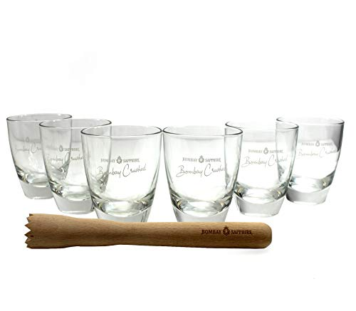 Bombay Sapphire Gläser 6er Set inkl. Stößel Crushed Gin Glas ~mn 944 1014+