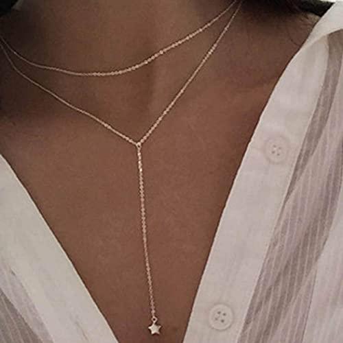 Jovono Gargantilla de múltiples capas Collares Estrella Colgante Collar Joyas de cadena para mujeres y niñas (Oro)