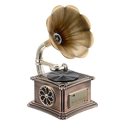 WAXGHH Vintage, Retro, clásico Estilo gramófono fonógrafo Forma estéreo de Altavoces de Sonido Sistema de la Caja de música de Audio de 3,5 mm de Entrada Auxiliar/USB Flash Drive Blue Tooth 4.2