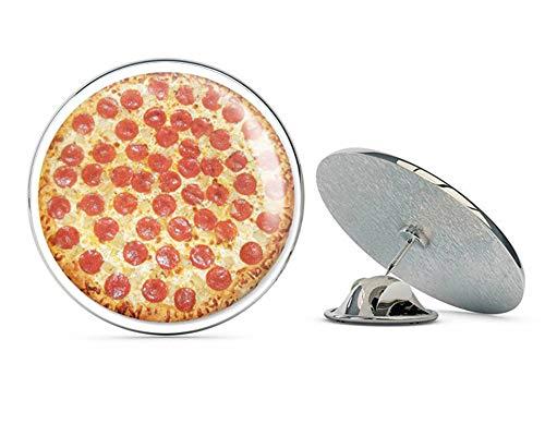 BRK Studio Pepperoni Pizza Delicious Food Round Metal 0.75' Lapel Pin Hat Shirt Pin Tie Tack Pinback