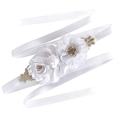 AIMANSHU Wedding Flower girl Sash Belt Bridal Dress Rhinestone Sash Bridesmaid Flowers Belts (Pure white 07)