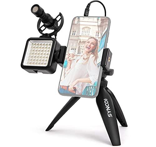 SYNCO Smartphone-Video-Kit-Vlogging-Mikrofon, Kamera-Richtmikrofon, Videolicht, Handyhalterung, Handheld-Stativ, Rig Stabilisator für YouTube...