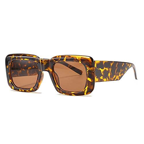 HAOMAO Diseñador de la Marca Gafas de Sol cuadradas Vintage para Mujeres Hombres Uv400 Sombras Gafas de Tendencia Retro Leopardtea