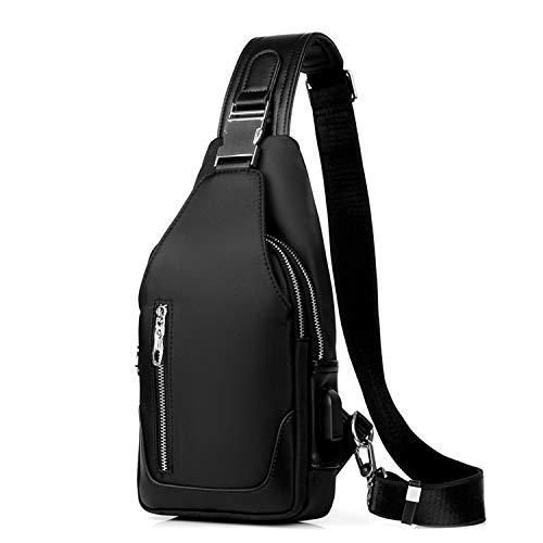 FANDARE Neu Brusttasche Herren Schultertasche Sling Bag Rucksack mit USB Umhängetasche Sporttasche für Wandern,Abenteuer,Sport, Reisen und Joggen Schwarz b