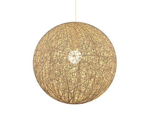 Pendelleuchte Decken-Kugel-Hänge-Leuchte-Lampe UNO, creme-weiß, D:40cm, Fassung E27 x1, Wohruam-Schlafzimmer-Esszimmer-Küchen-Leuchte-Lampe aus Bast