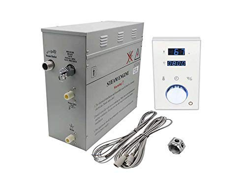 Superior Steam Shower Generator DeLuxe | Self Draining Steam Shower Kit | 6kW Touch Control in White | Aromatherapy Steam Head | Programmable temperature & time DeLuxe control for Perfect Steam