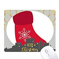 クリスマススノーフレークソックス赤祭 クリスマスイブのゴムマウスパッド