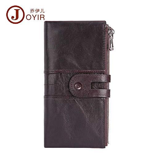 ZXW Damen Retro Leder Geldbörse, Koreanische Mode Handy-Austausch, RFID-Anti-Diebstahl-Pinsel, Lange Brieftasche, Schriftart Klassifizierung Einheitsgröße / 2072 lila braun