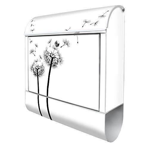 Banjado Design Briefkasten mit Motiv Pusteblume 2 | Stahl weiß pulverbeschichtet mit Zeitungsrolle | Größe 39x47x14cm, 2 Schlüssel, A4 Einwurf, inkl. Montagematerial