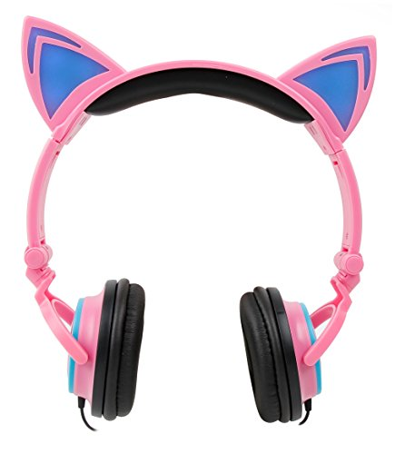 DURAGADGET Kids' Cat Ear LED Light Up Headphones (Pink) - Compatible with Vankyo MatrixPad S10 | MatrixPad S20 | MatrixPad S30 10 Inch Android Tablets