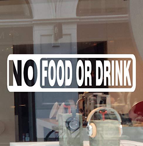 "JBY Graphics No Food or Drink Business Sign Decal Vinyl Sticker Door Window Retail Store Office Restaurant School Building (White, 8.5"" W X 2.5"" H)"