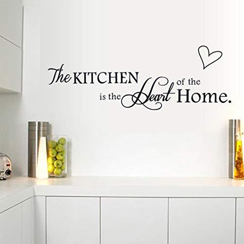 N\A La Cocina es el corazón de la Familia Alfabeto inglés Negro DIY Pegatinas de Pared extraíbles Cocina decoración del hogar calcomanías murales