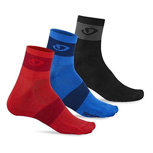Giro COMP RACER - Calcetines de ciclismo (3 unidades, 2018), color rojo, azul y gris