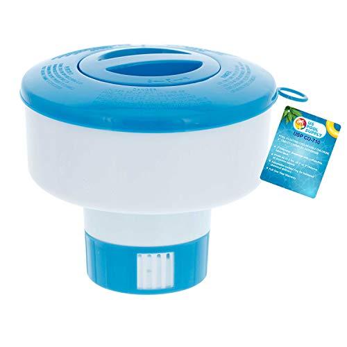 "U.S. Pool Supply Pool Floating Collapsible Chlorine 3"" Tablet Chemical Dispenser, 7"" Diameter Floater- Adjustable Balanced Chemical Delivery"