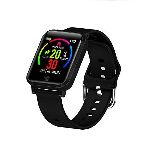 Flytise Pulsera Inteligente F29 con Monitor de Temperatura 1.3 Pulgadas IP67 Impermeable Sport Smartwatch Reloj Inteligente con frecuencia cardíaca Monitor de sueño Múlles