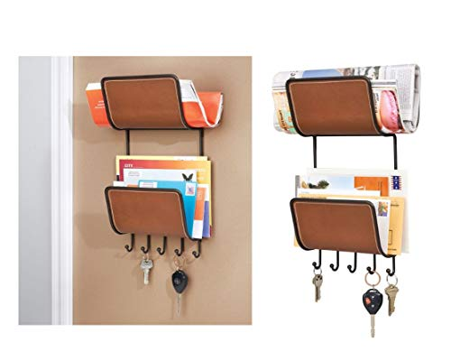 iDesign 65441EU InterDesign Laredo, Porte-Magazines et courrier pour l'entrée-Support Mural, Bronze/Marron, Acier Inoxydable, 36,93 x 19,15 x 8,79 cm