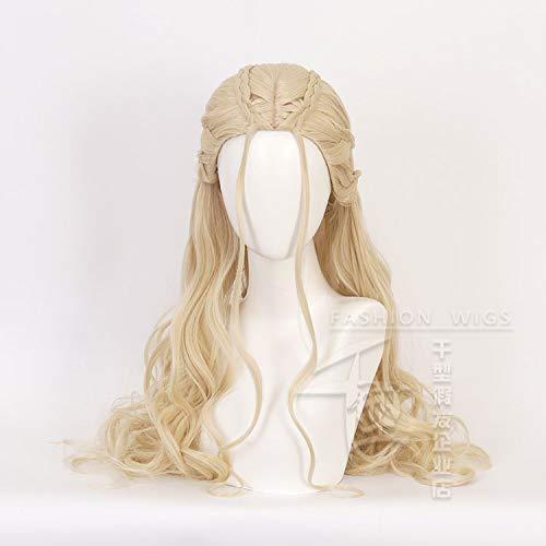 Game Of Thrones Daenerys Dragon moeder cosplay pruik zilver gouden lang krullend haar 2