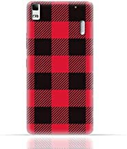 Lenovo A7000 TPU Silicone Case with Red and Black Plaid Fabric Design
