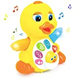 Zooawa Musical Duck Toy, Singing Dancing Walking Light Up and Sounds Educational Baby Toy Quacking...