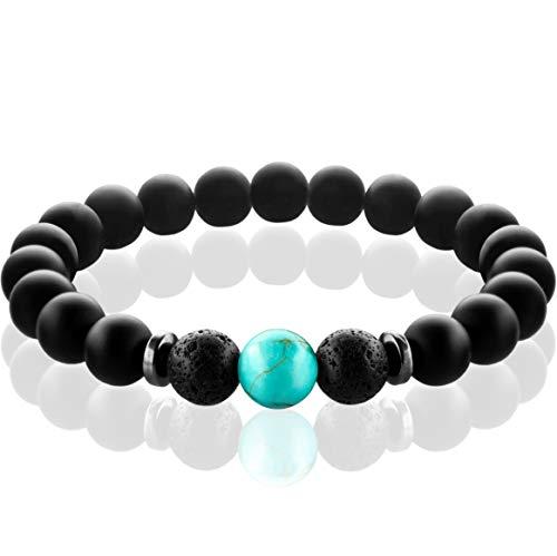 FABACH Spirituals™ Chakra Perlenarmband mit 8mm Turquoise-Perle, Lavastein und Onyx-Naturstein (schwarz) - Yoga Armband aus 21 Heilsteinen - Energiearmband für Damen und Herren