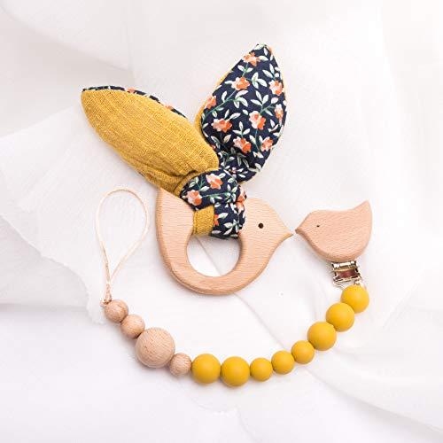 Mamimami Home 2PC Baby Holz gelb Bunny Bär Silikon Beißring Perlen Holz Vogel Schnuller Clip Montessori Spielzeug