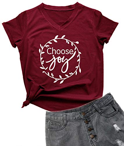 YEVEEY Funny T-Shirt Women's V-Neck Letter Print Casual Tee Short Sleeve Tops Wine Red XX-Large
