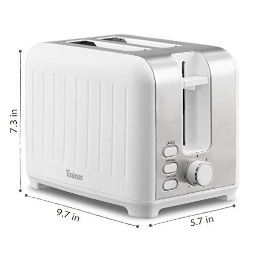 Twinzee - Grille Pain 3 en 1 - Noir Mat en Inox - 2 Large Fente - Toaster Rétro - Pince en Bambou Gratuite - 7 Niveaux de Brunissage - 850W - Chauffe Petit Pain et Ramasse Miette
