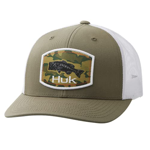 HUK Men's Trucker Anti-Glare Fishing Snapback Hat, Camo Bass-Kalamata Olive, 1
