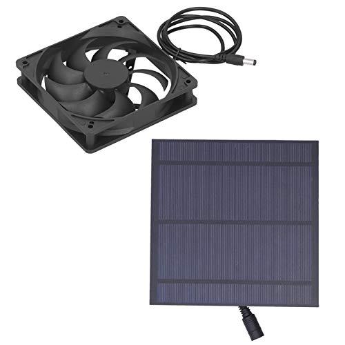 Ventilador de invernadero, ventilador de panel solar, silicio monocristalino portátil para perreras para casas de mascotas para casas en árboles para gallineros
