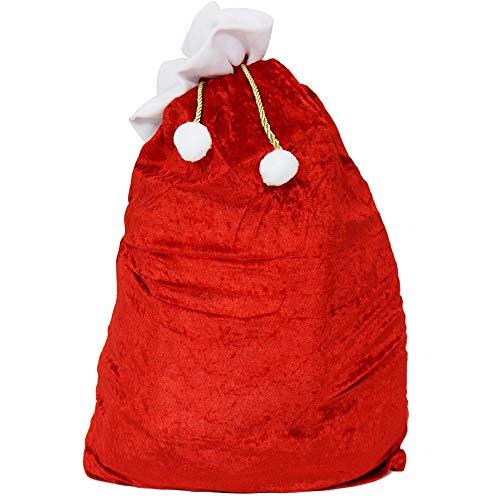 com-four® Edler XXL Weihnachtssack aus Samt mit goldfarbener Kordel mit weißen Bommeln - Geschenksack Weihnachten (1 Stück - Goldfarbene Kordel)