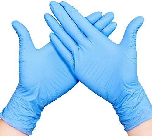 200pcs Nitrilo Guantes Desechables Polvo Guantes Libres De Látex, Dispensador Pack Cocina Universal/Lavavajillas/Trabajo/Goma/Guantes de Jardín (M, Azul)