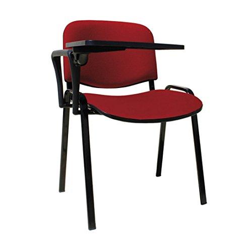 20 Sedie in tessuto con scrittoio ribaltina tavoletta per sala corsi convegni riunioni (rosso)