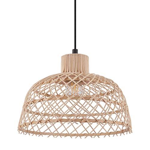 EGLO Lámpara colgante Ausnby, 1 lámpara de techo vintage, escandinava, boho, lámpara de techo de acero y madera, lámpara de comedor, lámpara colgante en negro, natural, casquillo E27