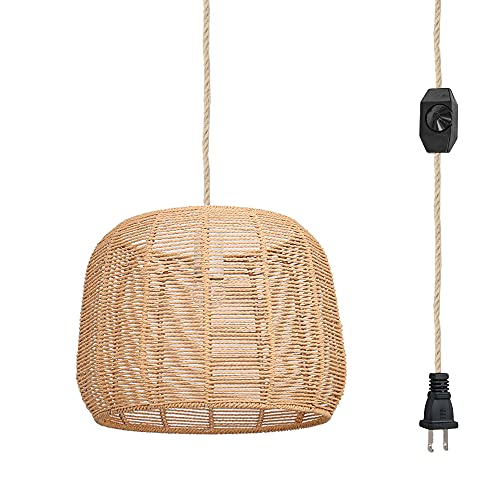 Hanging Swag Ceiling Lamp Twine Natural Rattan Lampshade No Wiring Needed Portable Pendant Light with 15ft Plug-in UL Dimmable Hemp Rope Cord Modern Farmhouse Chandelier Swag Lamp,Customizable