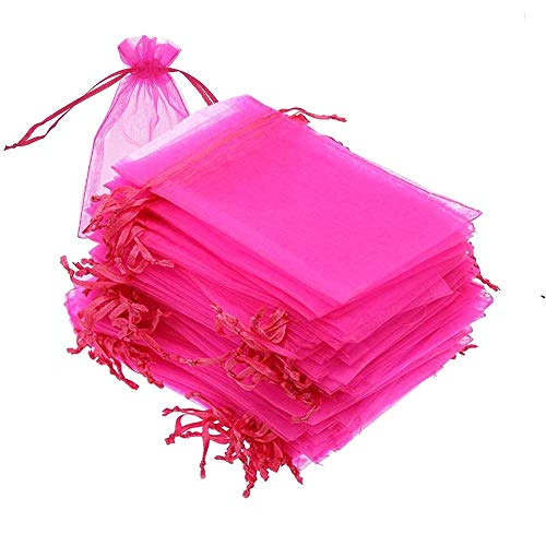 100PCS 5x7 inches Drawstring Organza Bags, Gift Favor Bags, Hot Pink Jewelry Pouches, for Wedding Party Christmas