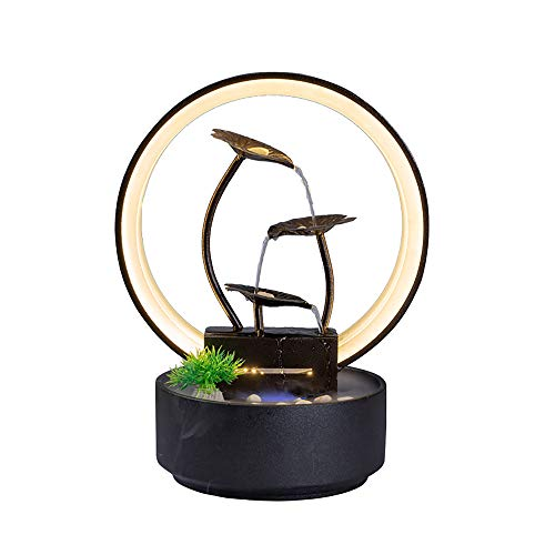 crapelles Tabletop Waterfall Indoor Fountain, for Home Office Landscape Decor fengshui Gift, Design Element Brown Iron Ring and Leaves, Black Cylindrical Ceramic Bowl