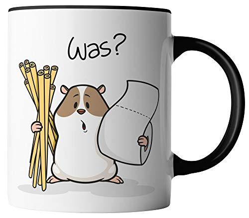 vanVerden Tasse - Hamsterkäufe Klopapier und Nudeln Corona-Virus 2020 COVID-19 - beidseitig Bedruckt - Geschenk Idee Kaffeetassen mit Spruch, Tassenfarbe:Weiß/Schwarz