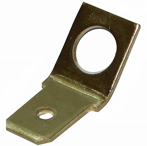 Aerzetix: 100 x Kableschuhe 6.3 mm 0,8 mm 45 ° männliche M5 Lasche für CI Leiterplatte zu Montage auf goujon. Messing