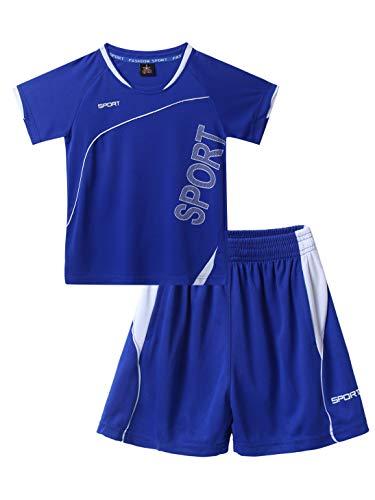LiiYii Enfant Garçon Vêtement de Sport Basket-Ball Ensemble T-Shirt à Manche Courte Shorts de Sport Uniforme de Basket Maillot de Corps Lâche Respirant Tenue Sportswear 7-14 Ans Bleu 9-10 Ans